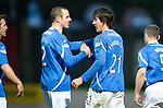 St Johnstone v Hibernian...26.11.11   SPL .Francisco Sandaza celebrates his goal with Dave Mackay.Picture by Graeme Hart..Copyright Perthshire Picture Agency.Tel: 01738 623350  Mobile: 07990 594431