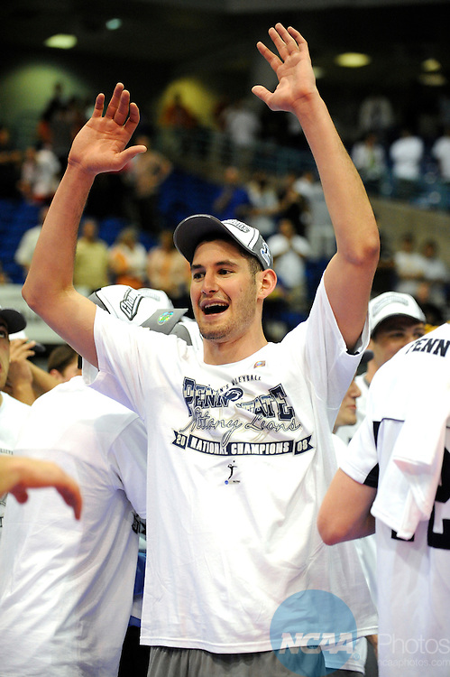03 MAY 2008:  Max Lipsitz (9) of Penn State University celebrates the Nittany Lions' victory over Pepperdine University during the Division I Men?s Volleyball Championship held at the Bren Events Center on the University of California-Irvine campus in Irvine, CA.  Penn State defeated Pepperdine 3-1 to win the national title game.  Matt Brown/NCAA Photos.