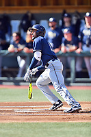 Pittsburgh Panthers third baseman Liam Sabino (11) swings at a pitch during a game against the North Carolina Tar Heels at Boshamer Stadium on March 17, 2018 in Chapel Hill, North Carolina. The Tar Heels defeated the Panthers 4-0. (Tony Farlow/Four Seam Images)