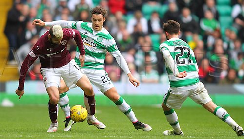 02.04.2016. Celtic Park, Glasgow, Scotland. Scottish Football Premiership Celtic versus Hearts. Erik Sviatchenko battles with Igor Rossi