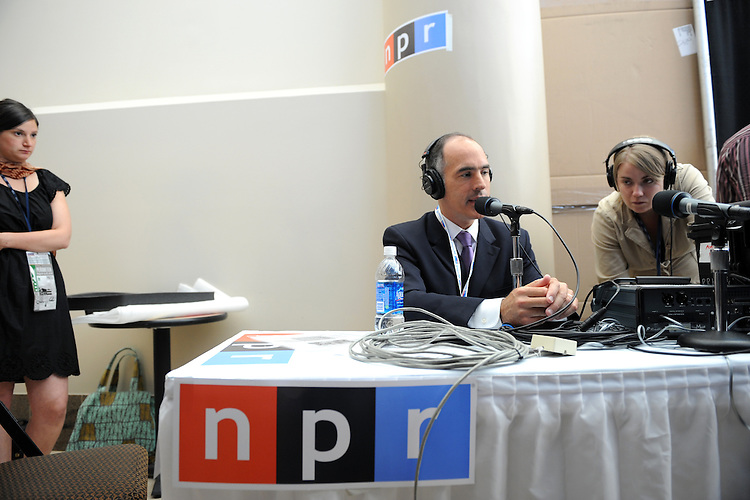 Sen. Bob Casey, D-Pa., is interviewed by NPR in the Pepsi Center before the start of the Democratic National Convention, August 25, 2008.