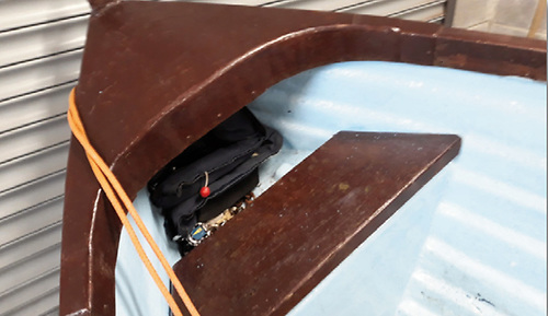 A PFD stowed in forward part of the lake boat under the gunwale Photo: MCIB