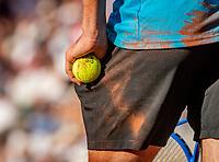 Paris, France, 2 june, 2019, Tennis, French Open, Roland Garros, Stefanos Tsitsipas (GRE) in his match against Wawrinka (SUI)<br /> Photo: Henk Koster/tennisimages.com