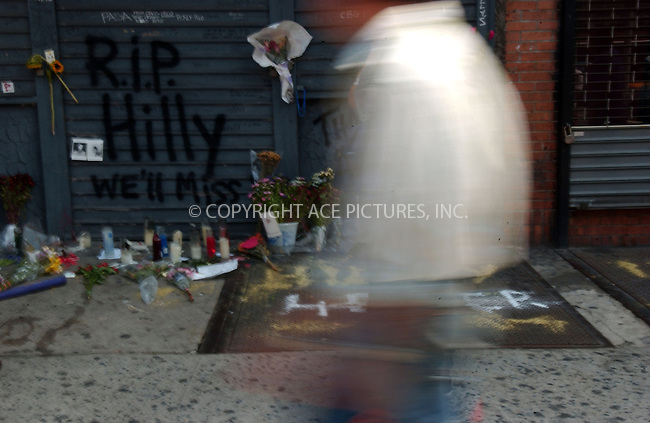 WWW.ACEPIXS.COM . . . . . ....August 30 2007, New York City....Fans made a shrine to CBGB club owner Hilly Kristal at the East Village site of the famous punk music venue following Crystal's death from lung cancer this week. CBGBs closed down in October 2006.....Please byline: KRISTIN CALLAHAN - ACEPIXS.COM.. . . . . . ..Ace Pictures, Inc:  ..tel: (646) 679 0430..e-mail: picturedesk@acepixs.com..web: http://www.acepixs.com