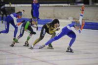 SCHAATSEN: HEERENVEEN: IJsstadion Thialf, 05-02-15, Training World Cup, Margot Boer, Janine Smit, Nao Kodaira (JPN), Thijsje Oenema, ©foto Martin de Jong
