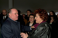 Montreal, Dec 3rd, 2001<br /> Quebec Premier Bernard Landry (L), shake hands with Quebec State Minister for Culture and Communications ; Diane Lemieux (R)<br /> at the official launch of the new Quebec Library's (Grande Bibliothcque du Qu&Egrave;bec )construction on Berri street in Montreal, CANADA, Monday december 3rd, 2001, while the President and General Director of the Quebec Librairy ; Lise Bisonette (M) look on.<br /> <br /> (Photo by Pierre Roussel - Images Distribution)