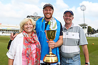 Picture by Alex Whitehead/SWpix.com - 12/09/2014 - Cricket - LV County Championship Div One - Nottinghamshire CCC v Yorkshire CCC, Day 4 - Trent Bridge, Nottingham, England - Yorkshire captain Andrew Gale celebrates with family.