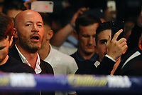 Alan Shearer sings along to the Braydon Races as Lewis Ritson enters the ring during a Boxing Show at the Metro Radio Arena on 13th October 2018