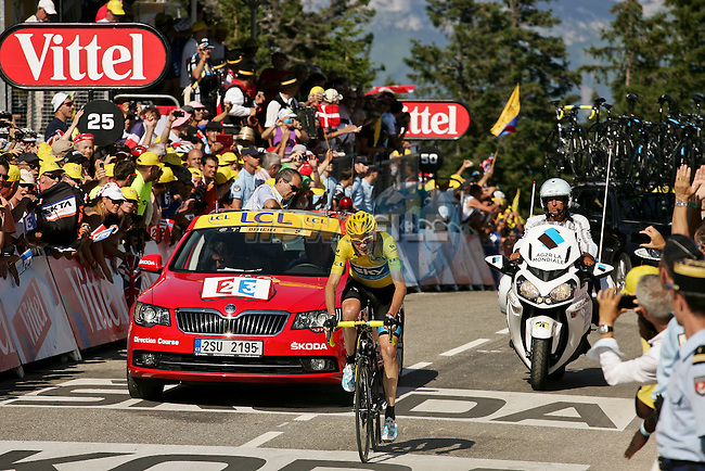 Christopher Froome (GBR) Sky Procycling retains the Yellow Jersey as he crosses the finish line of Stage 20 of the 100th Edition of the 2013 Tour de France from Annecy to Annecy Semnoz. 20th July 2013.<br /> (Photo:Thomas van Bracht/Peloton Photos/www.newsfile.ie)