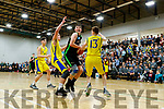 Daire Kennelly (14) Mercy Mounthawk in action against Rapolas Buivydas (10) CBS The Green U19 A Boys Subway Schools Cup semi final at Tralee Sports Complex on Thursday.