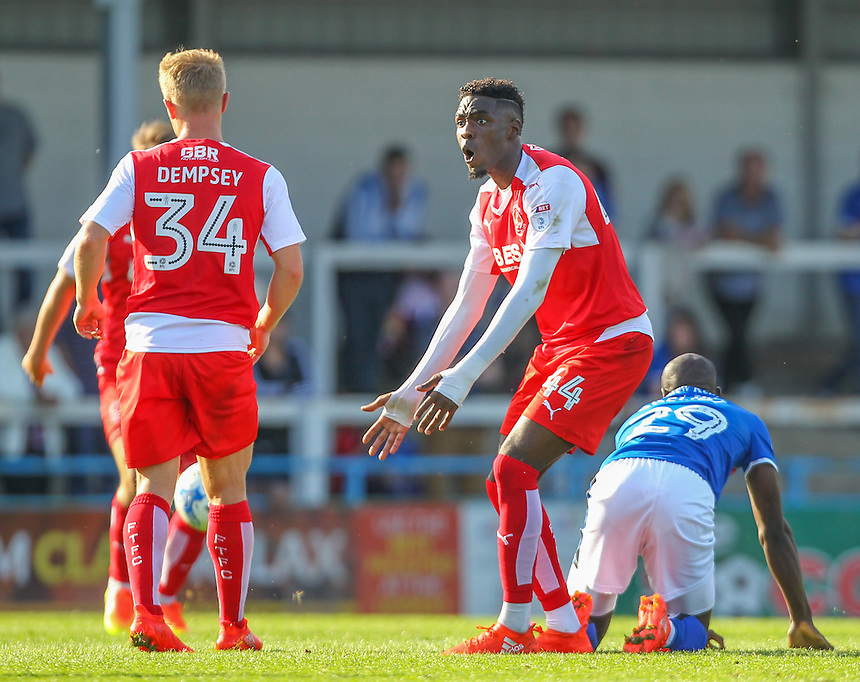 Fleetwood Town's Devante Cole protests his innocence after a strong challenge on Rochdale's Sanmi Odelusi<br /> <br /> Photographer Alex Dodd/CameraSport<br /> <br /> The EFL Sky Bet League One - Rochdale v Fleetwood Town - Saturday 17th September 2016 - Spotland - Rochdale<br /> <br /> World Copyright &copy; 2016 CameraSport. All rights reserved. 43 Linden Ave. Countesthorpe. Leicester. England. LE8 5PG - Tel: +44 (0) 116 277 4147 - admin@camerasport.com - www.camerasport.com