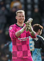 Goalkeeper Ryan Allsop (Loanee from Bournemouth) of Wycombe Wanderers applauds the support during the Sky Bet League 2 match between Notts County and Wycombe Wanderers at Meadow Lane, Nottingham, England on 28 March 2016. Photo by Andy Rowland.
