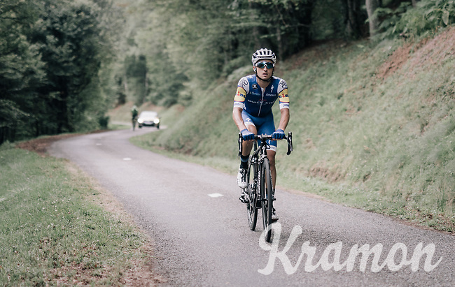 Gianluca Brambilla (ITA/Quick-Step Floors) up the Mur de P&eacute;gu&egrave;re (Cat1/1375m/9.3km/7.9%)<br /> <br /> 104th Tour de France 2017<br /> Stage 13 - Saint-Girons &rsaquo; Foix (100km)