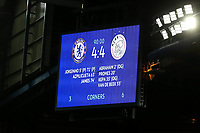 The scoreboard shows the 4-4 scoreline at the final whistle during Chelsea vs AFC Ajax, UEFA Champions League Football at Stamford Bridge on 5th November 2019