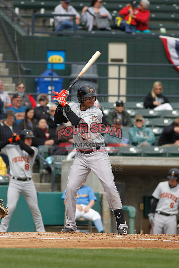 Frederick Keys infielder Jomar Reyes (30) at bat during a game against the Myrtle Beach Pelicans at Ticketreturn.com Field at Pelicans Ballpark on April 10, 2016 in Myrtle Beach, South Carolina. Myrtle Beach defeated Frederick 7-5. (Robert Gurganus/Four Seam Images)