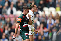 Max Clark of Bath Rugby celebrates his first half try. Aviva Premiership match, between Leicester Tigers and Bath Rugby on September 3, 2017 at Welford Road in Leicester, England. Photo by: Patrick Khachfe / Onside Images