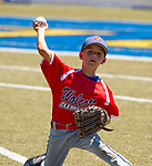 WATERBURY,  CT-071918JS05--Wolcott's Lucas Cornelio  (11) throws to first from his knees after diving for a ground ball during their Roberto Clemente tournament game against Diamond Elite of Cincinnati (OH) Thursday at Municipal Stadium in Waterbury. <br /> Jim Shannon Republican American
