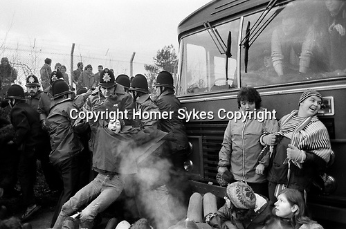Greenham Common December 1982 Womens Peace Camp blockade the USAF military camp.
