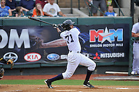 Left fielder Leonardo Molina (71) of the Pulaski Yankees bats in a game against the Bristol Pirates on Tuesday, July 5, 2016, at Calfee Park in Pulaski, Virginia. Pulaski won, 6-3. (Tom Priddy/Four Seam Images)