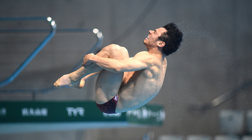 Mexico's Yahel Huerta Castillo competes in the Men's 3m Springboard Semifinal B<br /> <br /> Photographer Hannah Fountain/CameraSport<br /> <br /> FINA/CNSG Diving World Series 2019 - Day 2 - Saturday 18th May 2019 - London Aquatics Centre - Queen Elizabeth Olympic Park - London<br /> <br /> World Copyright © 2019 CameraSport. All rights reserved. 43 Linden Ave. Countesthorpe. Leicester. England. LE8 5PG - Tel: +44 (0) 116 277 4147 - admin@camerasport.com - www.camerasport.com