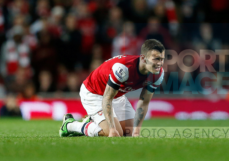 Arsenal's Jack Wilshere looks on after a knock..Arsenal v Everton - Barclays Premier League - Emirates Stadium, London- 16/04/13 - Picture David Klein/Sportimage