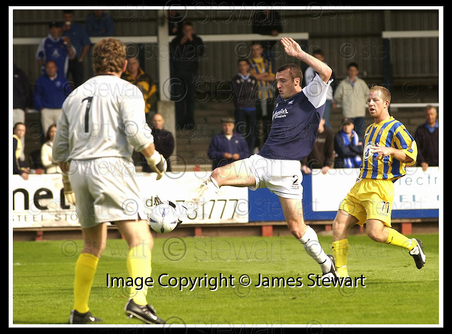 31/8/02       Collect Pic : James Stewart                     .File Name : stewart-falkirk v qots 01.ANDY GORAM IS STRANDED AS FALKIRK'S ANDY LAWRIE NIPS IN AT THE BACK POST TO SCORE THE FIRST GOAL....James Stewart Photo Agency, 19 Carronlea Drive, Falkirk. FK2 8DN      Vat Reg No. 607 6932 25.Office : +44 (0)1324 570906     .Mobile : + 44 (0)7721 416997.Fax     :  +44 (0)1324 570906.E-mail : jim@jspa.co.uk.If you require further information then contact Jim Stewart on any of the numbers above.........