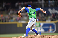Starting pitcher Jace Vines (29) of the Lexington Legends delivers a pitch in a game against the Columbia Fireflies on Saturday, April 22, 2017, at Spirit Communications Park in Columbia, South Carolina. Lexington won, 4-0. (Tom Priddy/Four Seam Images)