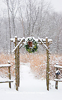 63821-174.12 Rustic fence & arbor with holiday wreath near prairie in winter, Marion Co. IL
