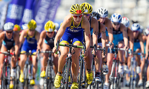 16 SEP 2012 - NICE, FRA - Kathrin Muller of Poissy Triathlon leads a pack on the bike during the final round of the French Grand Prix triathlon series held during the Triathlon de Nice Côte d'Azur .(PHOTO (C) 2012 NIGEL FARROW)