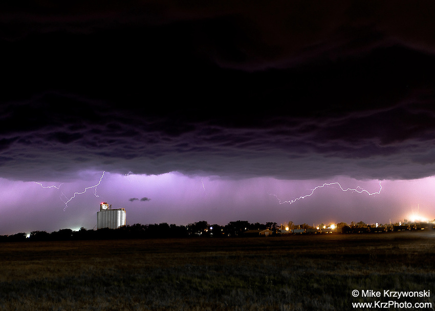 Lightning above city lights at night in Kansas