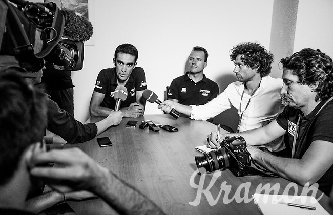 Alberto Contador (ESP/Trek-Segafredo) holding a press conference at the team hotel during the 69th Critérium du Dauphiné 2017