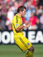 Ben Speas (17) of the Columbus Crew celebrates his goal during the game at RFK Stadium in Washington, DC.  Columbus Crew defeated D.C. United, 2-1.