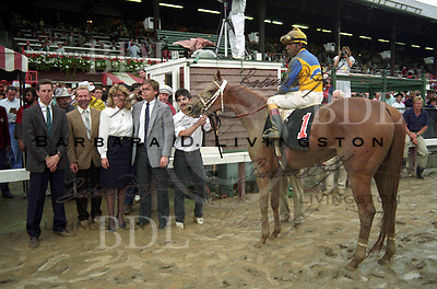 Open Mind, Angel Cordero, Jeff Lukas, Todd Pletcher, Alabama Stakes - photographed at Saratoga Race Course during the 1989 meeting