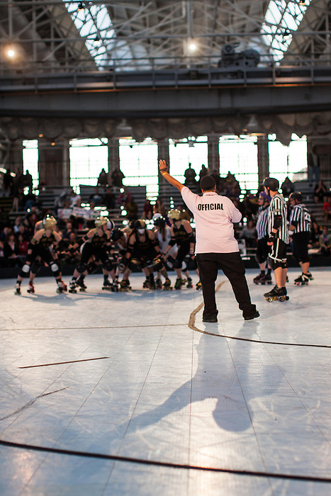 At the 2014 Golden Bowl in Richmond, California, the Bay Area Derby Girls Golden Girls defeat the Windy City Rollers during the first day of the two day event.
