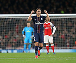 PSG's Edinson Cavani celebrates scoring his sides opening goal during the Champions League group A match at the Emirates Stadium, London. Picture date November 23rd, 2016 Pic David Klein/Sportimage