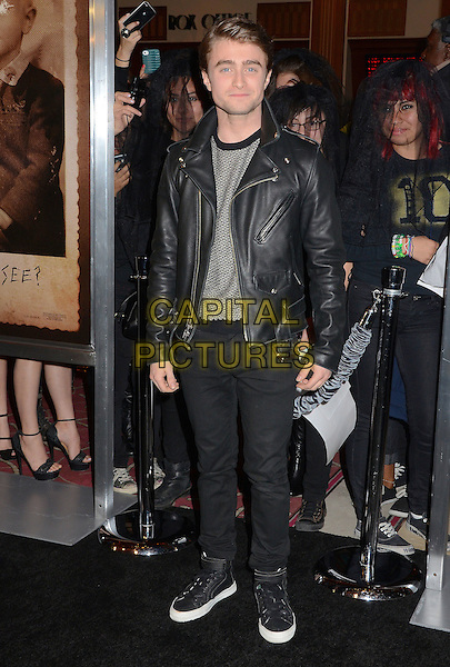 "Daniel Radcliffe.""The Woman in Black"" LA Screening held at Pacific Theatres at The Grove, Los Angeles, California, USA.February 2nd, 2012.full length black jeans denim leather jacket grey gray top.CAP/ADM/BT.©Birdie Thompson/AdMedia/Capital Pictures."