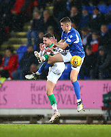 29th January 2020; McDairmid Park, Perth, Perth and Kinross, Scotland; Scottish Premiership Football, St Johnstone versus Celtic; Wallace Duffy of St Johnstone challenges Greg Taylor of Celtic