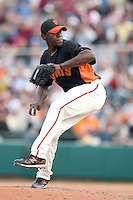Henry Sosa #67 of the San Francisco Giants pitches against the Arizona Diamondbacks in the first spring training game of the season at Scottsdale Stadium on February 25, 2011  in Scottsdale, Arizona. .Photo by:  Bill Mitchell/Four Seam Images.