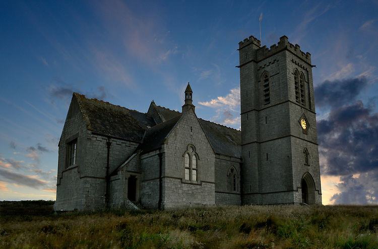 St Helen's Church at sunset, Lundy Island, Devon