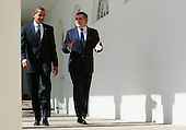 Washington, D.C. - March 3, 2009 -- United States President Barack Obama (L) and Prime Minister Gordon Brown of Great Britain (R) walk along the colonnade after a meeting in the Oval Office at the White House on Tuesday, March 3, 2009 in Washington DC. Brown will also participate in a working lunch with president Obama before he departs the White House. .Credit: Mark Wilson / Pool via CNP