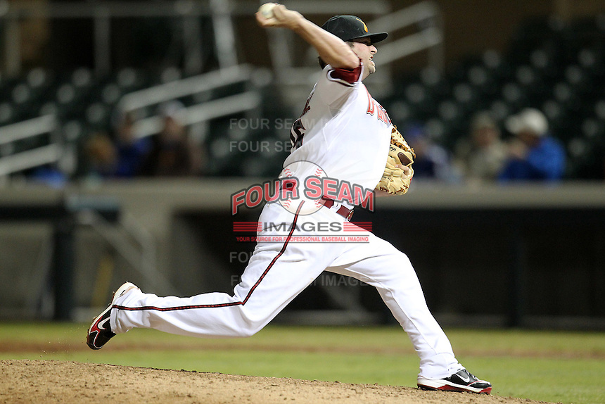 Salt River Rafters pitcher Bryan Woodall #15 during an Arizona Fall League game against the Peoria Javelinas at HoHoKam Park on November 3, 2011 in Mesa, Arizona.  Salt River defeated Peoria 13-4.  (Mike Janes/Four Seam Images)