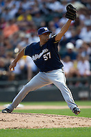 Milwaukee Brewers Pitcher Francisco Rodriguez #57 delivers during the Major League Baseball game against the Chicago White Sox on June 24, 2012 at US Cellular Field in Chicago, Illinois. The White Sox defeated the Brewers 1-0 in 10 innings. (Andrew Woolley/Four Seam Images).