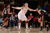 STANFORD, CA - NOVEMBER 26: Kayla Pedersen of Stanford women's basketball on defense in a game against South Carolina on November 26, 2010 at Maples Pavilion in Stanford, California.  Stanford topped South Carolina, 70-32.
