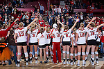 Wisconsin Badgers volleyball team sings Varsity after an NCAA volleyball match against the Michigan Wolverines at the Field House on October 30, 2010 in Madison, Wisconsin. Michigan won the match 3-1.  (Photo by David Stluka)