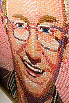 "Experimental Food Society event in Brick Lane London.25.9.10.Weird and wacky food art..""You've bean framed!"" Portrait of Lily Savage creator  Paul O'Grady = portrait by Malcolm West...Jelly Belly art was conceived by the Texan artist Pete Rocha back in the 1980s. ..Picture by Gavin Rodgers/ Pixel 07917221968"