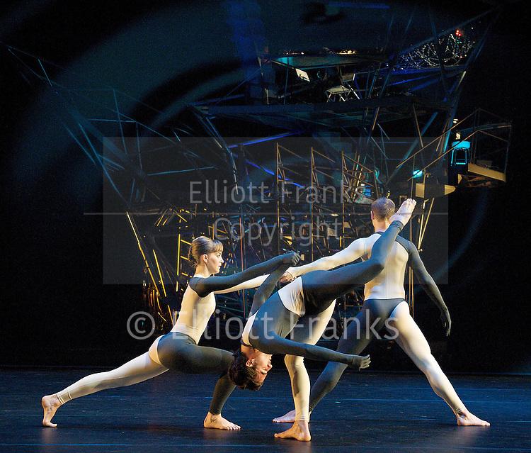 Nearly Ninety<br /> The Merce Cunningham Dance Company <br /> choreography by Merce Cunningham<br /> at The Barbican Theatre, London, Great Britain <br /> rehesrsal <br /> 26th October 2010 <br /> <br /> <br /> <br /> John Hinrichs<br /> <br /> Jamie Scott<br /> <br /> Silas Riener<br /> <br /> <br /> <br /> Photograph by Elliott Franks<br /> 2010&copy;Elliott Franks
