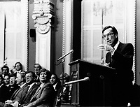 Quebec (QC) CANADA file photo -<br /> Dec 12 1985, Presentation of the new  Liberal Government at the National Assembly Salon Rouge by the new Premier  Robert Bourassa