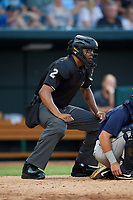 Umpire Jose Navas during a Southern League game between the Mobile BayBears and Jacksonville Jumbo Shrimp on May 28, 2019 at Baseball Grounds of Jacksonville in Jacksonville, Florida.  (Mike Janes/Four Seam Images)