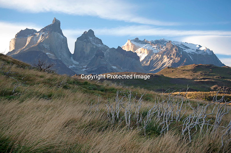 Afternoon Light on Los Cuernos Mountain Peaks in Torres del Paine National Park in Patagonia Chile