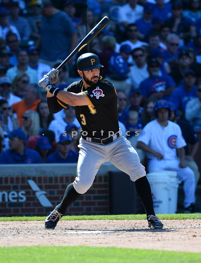 Pittsburgh Pirates Sean Rodriguez (3) during a game against the Chicago Cubs on June 17, 2016 at Wrigley Field in Chicago, IL. The Cubs beat the Pirates 6-0.